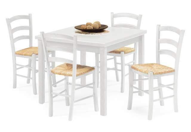 Set Dora Tavolo Bianco + 4 Sedie impagliate in legno
