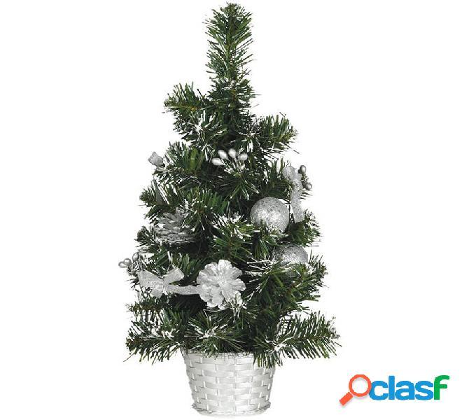Albero di natale decorato argento nevoso 40 cm con vaso di