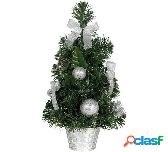 Albero di natale decorato in argento da 40 cm con vaso di