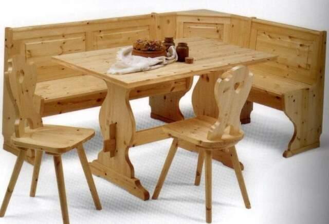 Giro panca, tavolo e due sedie rustico