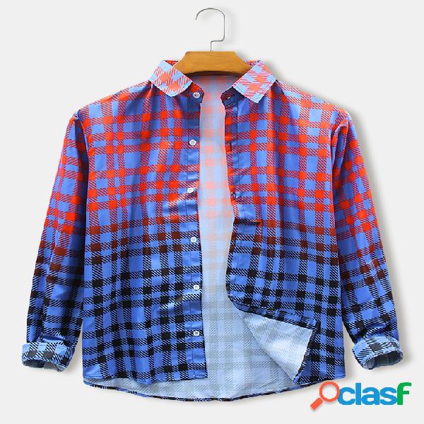 Camicie da uomo a manica lunga slim fit a quadretti con