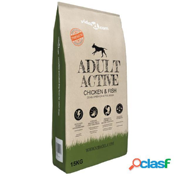 vidaXL Cibo Secco per Cani Premium Adult Active Chicken &