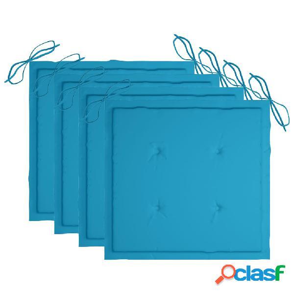 vidaXL Cuscini per Sedie da Giardino 4 pz Blu Reale 50x50x4