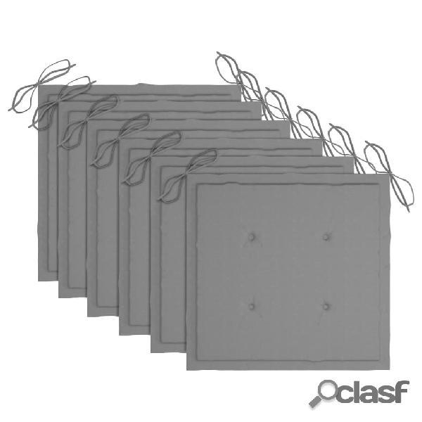 vidaXL Cuscini per Sedie da Giardino 6 pz Grigi 40x40x4 cm