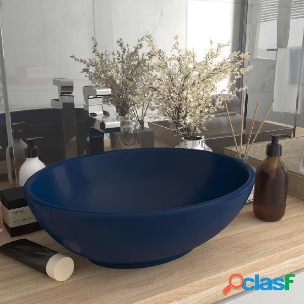 vidaXL Lavandino Lusso Ovale Blu Scuro Opaco 40x33 cm in
