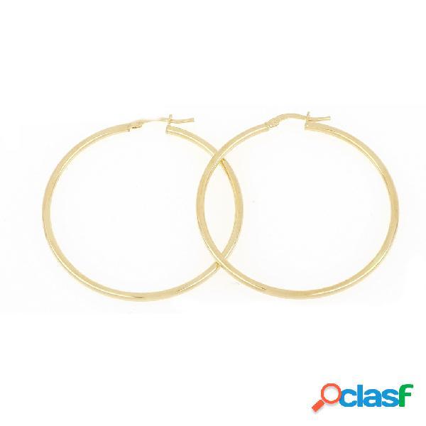 Orecchini a cerchio in argento 925 dorato canna liscia 40 mm