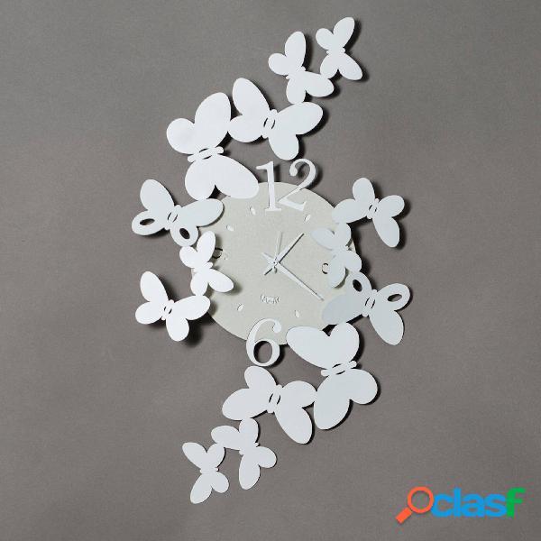 Orologio Papillon in metallo, 32x56h, colore Bianco Neve