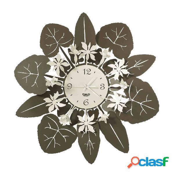 Orologio con grande cornice floreale Ciclamino in metallo,