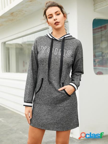 YOINS Abito pullover con lettera design con cappuccio grigio