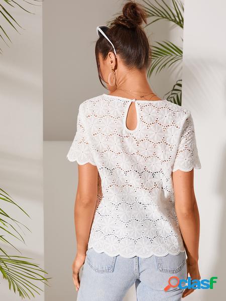 YOINS White Hollow Design Round Collo Camicetta a maniche
