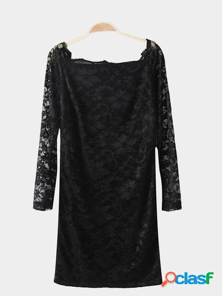 Yoins Abito da sera in pizzo nero all over moda