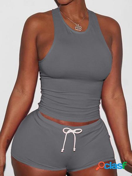 Yoins Bodycon Cami Top & Bottom Gym Outfit in grigio