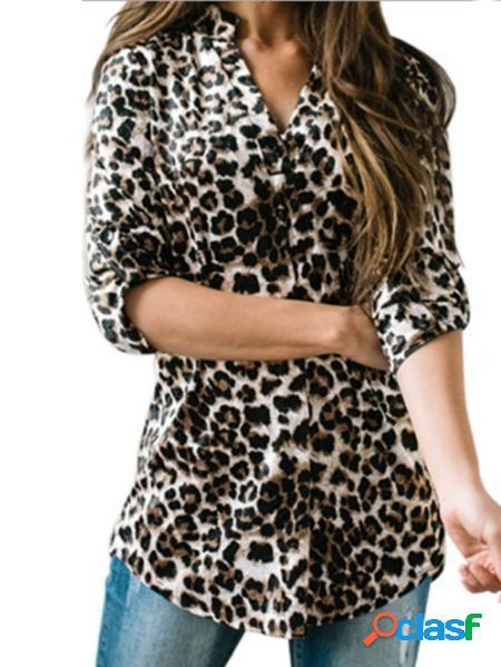Yoins Camicetta a maniche lunghe con scollo a V leopardato