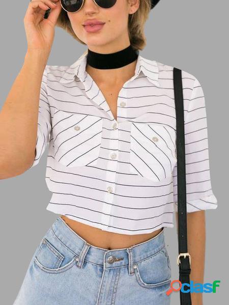 Yoins Camicia corta a maniche lunghe con motivo a righe