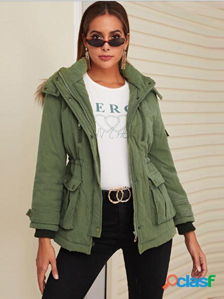 Yoins Cappotto a maniche lunghe in pile con design verde