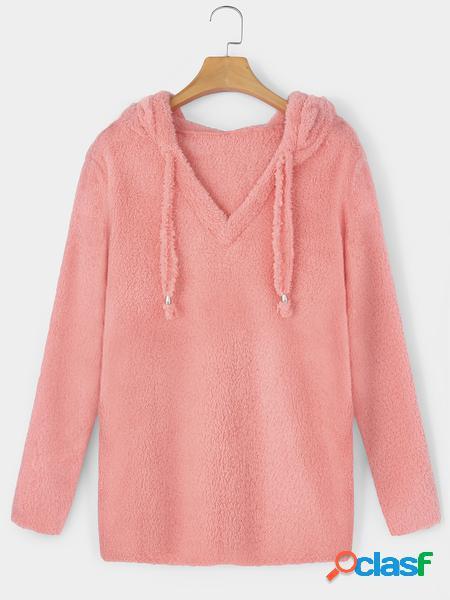 Yoins Felpa con cappuccio e coulisse in mohair rosa