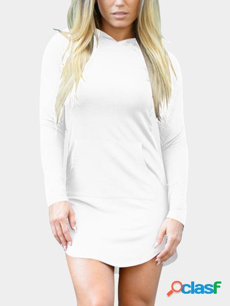 Yoins Mini abito con cappuccio con tasche laterali bianche