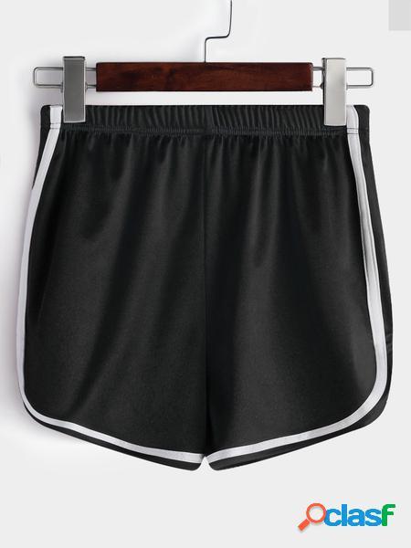 Yoins Pantaloncini Gym a vita alta in tessuto liscio nero