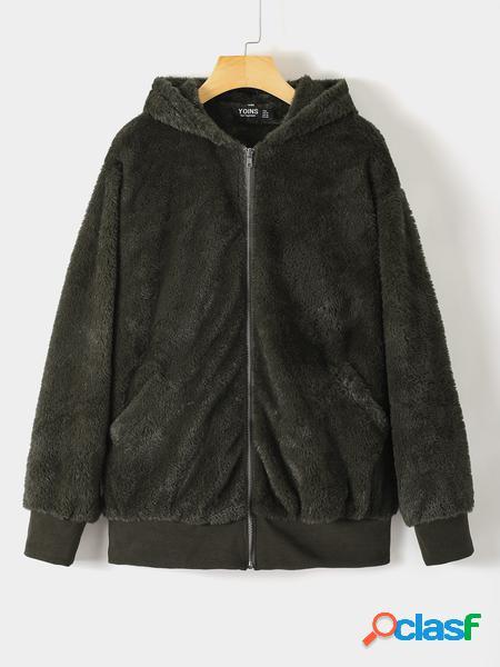 Yoins Plus Cappotto Teddy Design con cappuccio verde