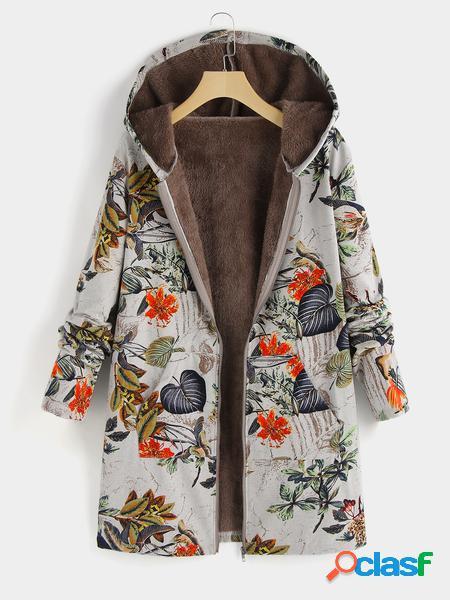 Yoins Plus Cappotto con cappuccio con stampa floreale di