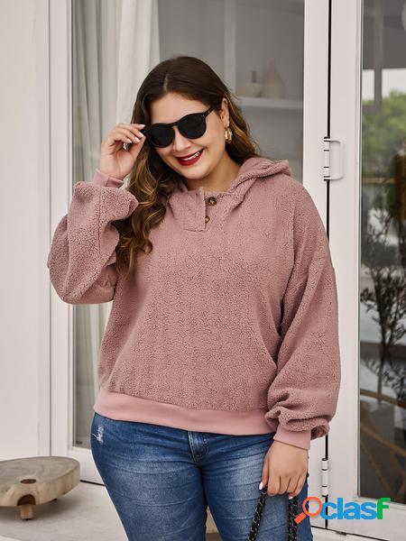 Yoins Plus Taglia Rosa Felpa in lana di agnello con design a