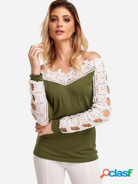 Yoins T-shirt a maniche lunghe con cuciture in pizzo verde