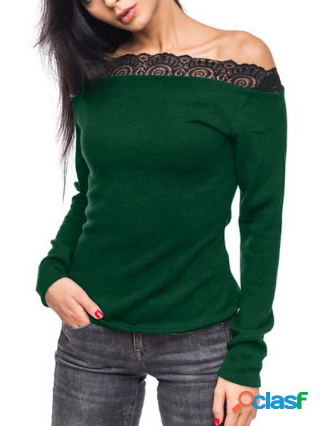 Yoins Top casual a maniche lunghe con bordo in pizzo verde