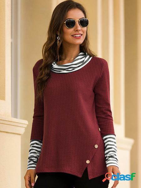 Yoins Top in maglia a maniche lunghe con motivo patchwork