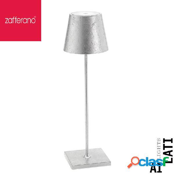 Zafferano Poldina Foglie Argento Cm 38 Lampada Da Tavolo