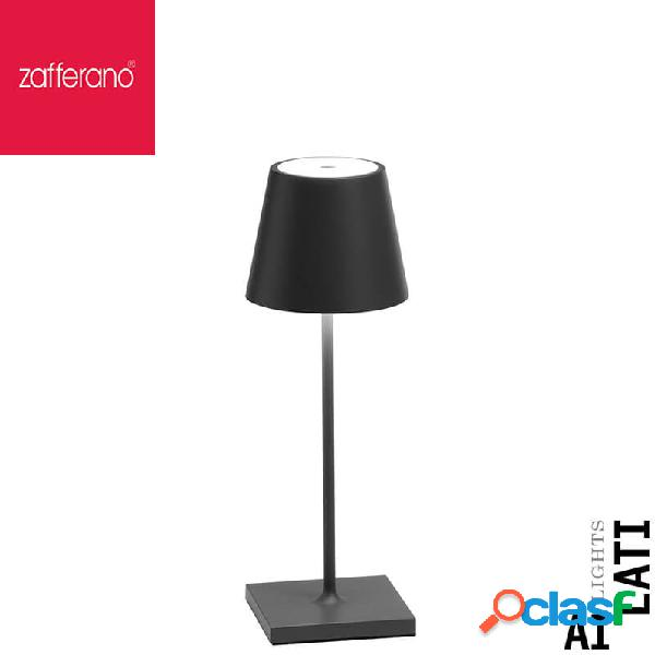 Zafferano Poldina Grigio Scuro Cm 30 Lampada Da Tavolo