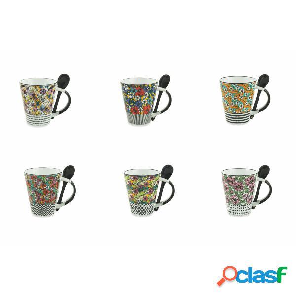 set 20 Mug Caribbean Queen in Gres Assortito, diametro 8.5 x