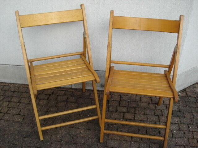 2 sedie pieghevoli in legno per esterno/interno