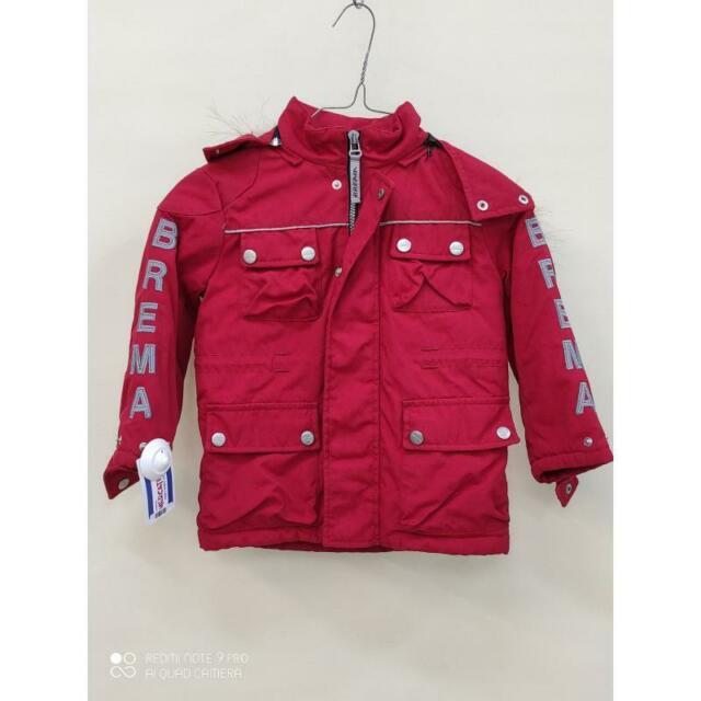 Cappotto b brema rosso cappuccio pelo