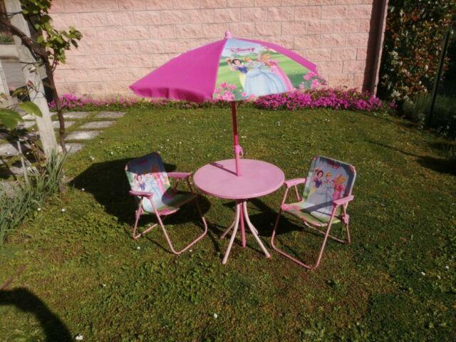 Set Tavolo da Giardino con 2 Sedie e Ombrellone per Bambini