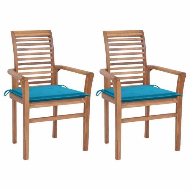 Sedie da Pranzo 2 pz con Cuscini Blu in Massello di Teak