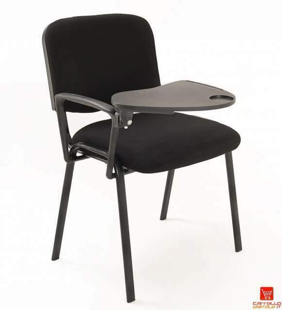 Sedie con scrittoio per sale conferenza in tessuto nere