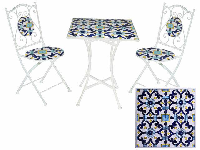 Set Tavolo E 2 Sedie Da Giardino Con Mosaico In Metallo