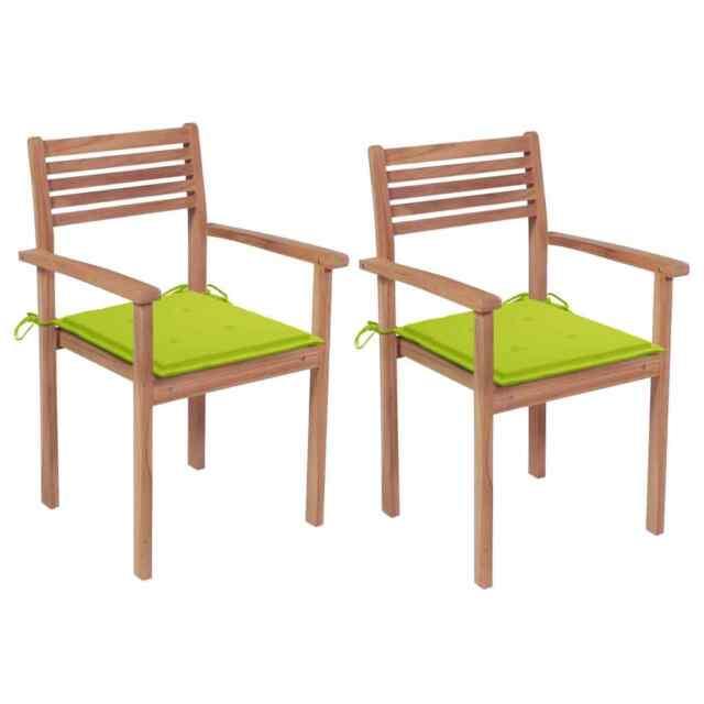 Sedie da Giardino 2 pz Cuscini Verde Brillante in Legno di