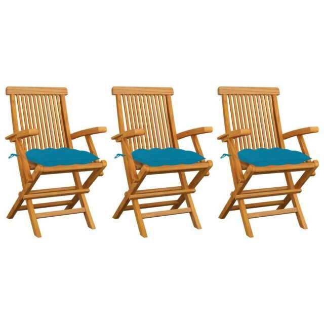 Sedie da Giardino con Cuscini Azzurro 3 pz in Massello di