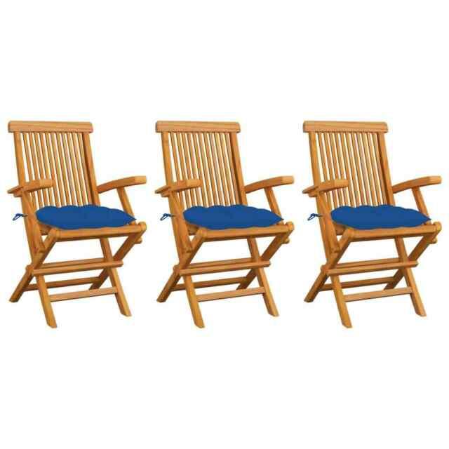 Sedie da Giardino con Cuscini Blu 3 pz in Massello di Teak