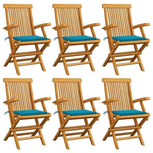 Sedie da Giardino con Cuscini Blu 6 pz in Massello di Teak