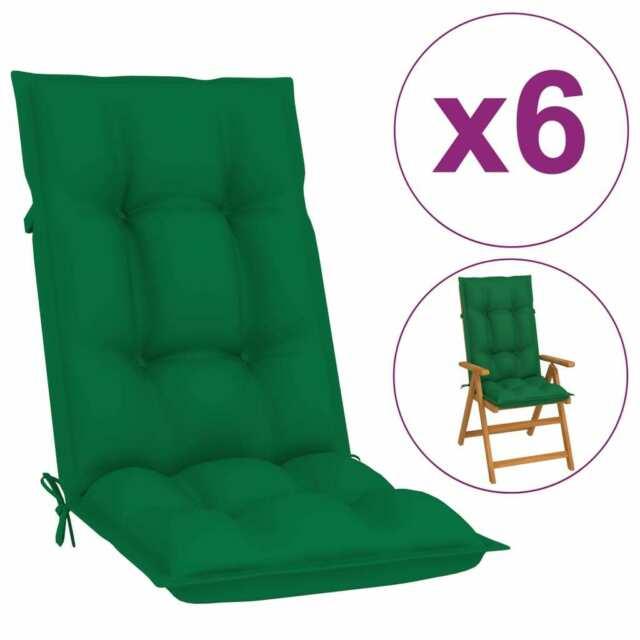 Cuscini per Sedie da Giardino 6 pz Verdi 120x50x7 cm