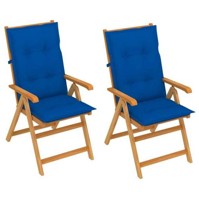 Sedie da Giardino 2 pz con Cuscini Blu Reale Massello di
