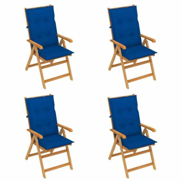Sedie da Giardino 4 pz con Cuscini Blu Reale Massello di