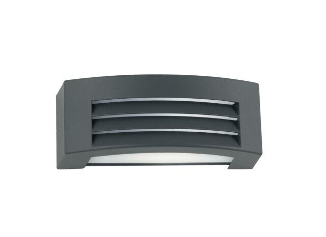 Applique Impermeabile Con Griglia Alluminio Nero Diffusore