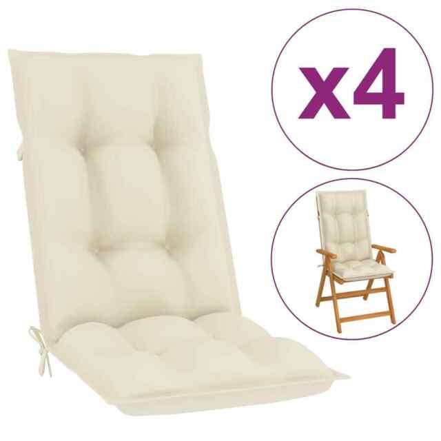 Cuscini per Sedie da Giardino 4 pz Crema 120x50x7 cm