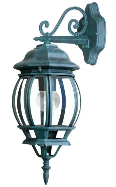 Lanterna Tonda Verso Basso Alluminio Verde Diffusore Vetro