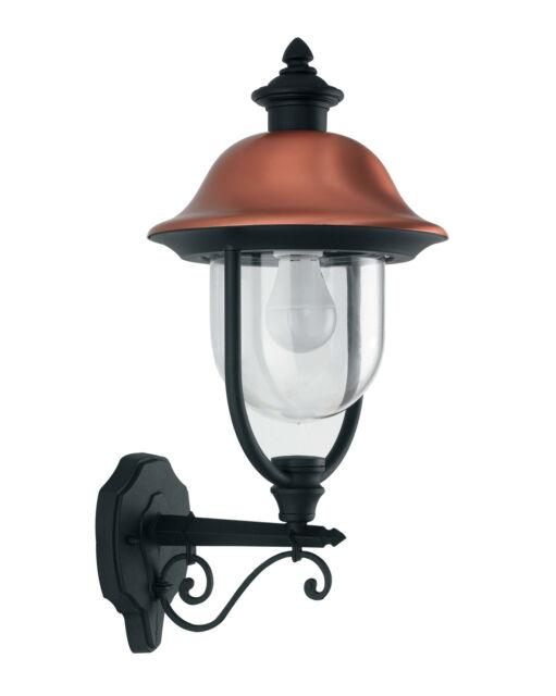 Lanterna Verso Alto Alluminio Nero Rame Diffusore Vetro