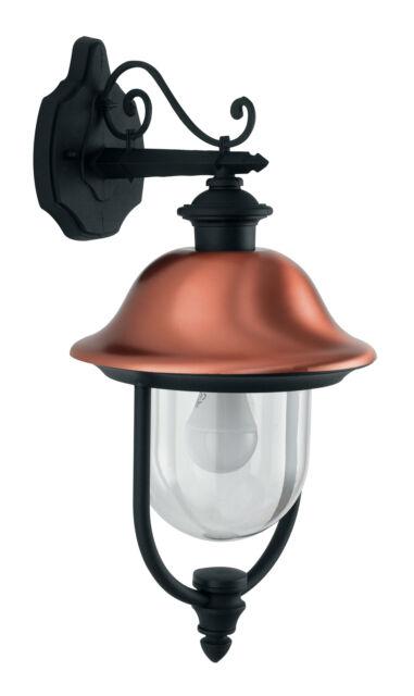 Lanterna Verso Basso Diffusore Vetro Alluminio Nero Rame