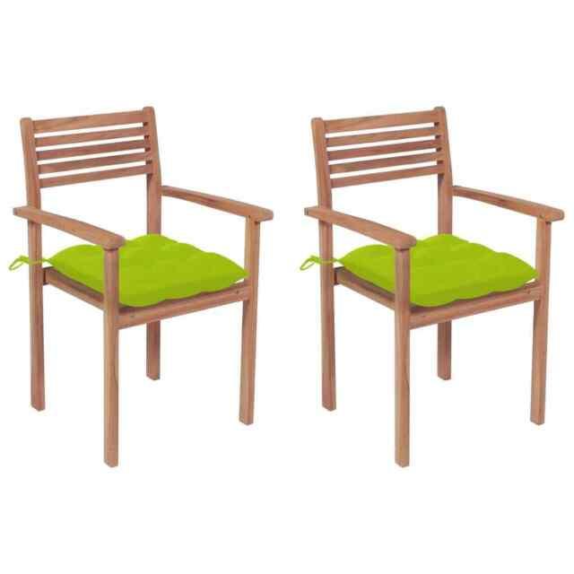 Sedie da Giardino 2 pz Cuscini Verde Brillante Legno di Teak